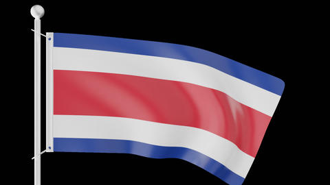 FLAG OF COSTA RICA WAVE W/ALPHA CHANNEL Animation