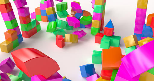 Destruction of a toy building made of colored cubes Live Action