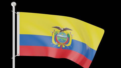 FLAG OF ECUADOR WAVE W/ALPHA CHANNEL Animation