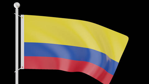 FLAG OF COLOMBIA WAVE W/ALPHA CHANNEL Animation