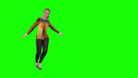 510 4K 3d animated girl with yellow blouse does a curtsy Animation
