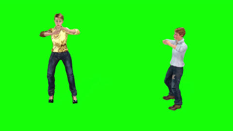 511 4K 3d animated young woman and teenage boy exercise together Animation