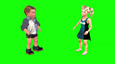 512 4k 3d animated small boy and girl execise together Animation