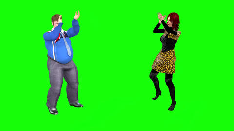 513 4k 3D animated fat man and fine woman exercise together Animation