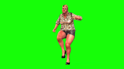 517 4k 3d animated fat woman make exersizes to reduce weight Animation