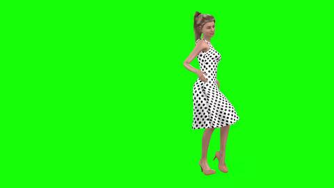 523 4k 3d animated beautiful girl looks in mirror then walks Animation