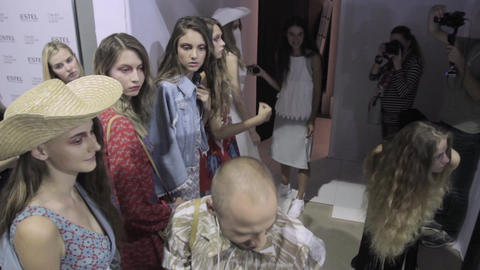 Backstage fashion show. Model, models before the show Live Action