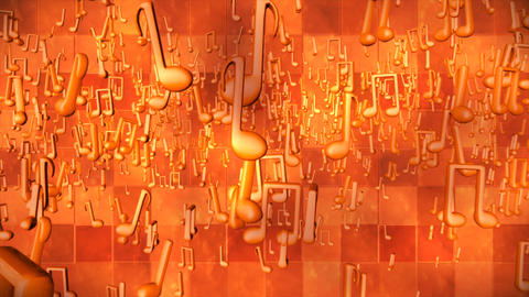 Broadcast Hi-Tech Swirling Music Notes, Orange, Abstract, 3D, Loopable, 4K CG動画