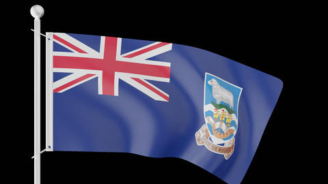 FLAG OF THE FALKLAND ISLANDS WAVE W/ALPHA CHANNEL Animation
