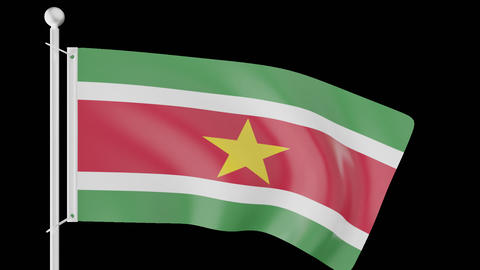 FLAG OF SURINAME WAVE W/ALPHA CHANNEL Animation