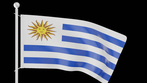FLAG OF URUGUAY WAVE W/ALPHA CHANNEL Animation