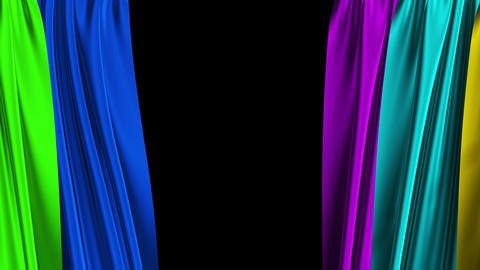 Multicolor Curtains Opening. Alpha Channel Animation