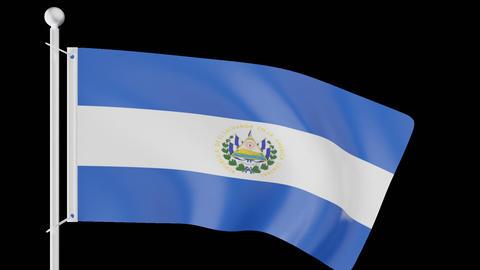 FLAG OF EL SALVADOR WAVE W/ALPHA CHANNEL Animation
