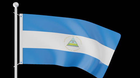 FLAG OF NICARAGUA WAVE W/ALPHA CHANNEL Animation