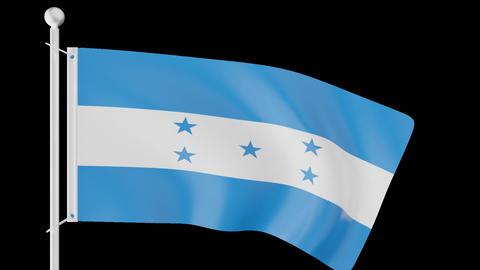 FLAG OF HONDURAS WAVE W/ALPHA CHANNEL Animation