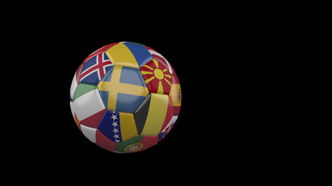 Flags of Euro 2 on slow flying soccer ball on transparent background, alpha Animation