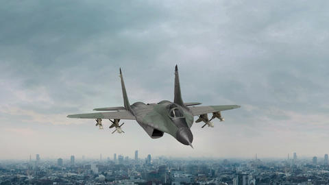 Tactical Fighter With Missiles Flies Over the City Live Action