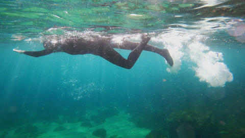 Girl in a black neoprene suit splashes and swims underwater. Underwater shooting Live Action