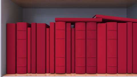 Spines of books compose flag of Costa Rica. Costa Rican Literature, culture or Live Action