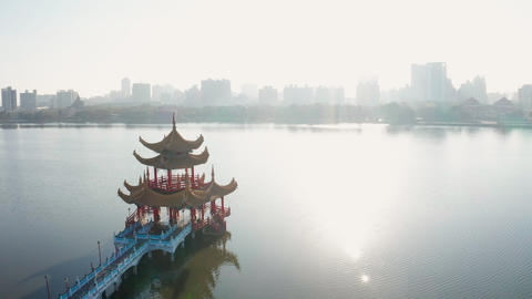 Aerial view lotus pond and Spring Autumn Pagodas at sunrise , Kaohsiung, Taiwan. Asia Live Action