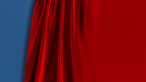 Blue And Red Curtain Opening. Green Screen GIF