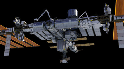Flying Around International Space Station. Alpha Channel Animation