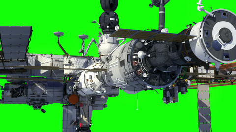 International Space Station Orbiting Earth. Green Screen Animation