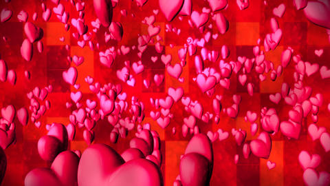 Broadcast Romantic Bouncing Hearts, Magenta Red, Events, 3D, Loopable, HD Animation