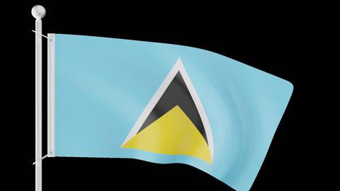 FLAG OF SAINT LUCIA WAVE W/ALPHA CHANNEL Animation