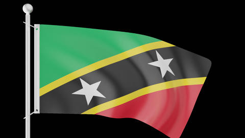 FLAG OF SAINT KITTS AND NEVIS WAVE W/ALPHA CHANNEL Animation