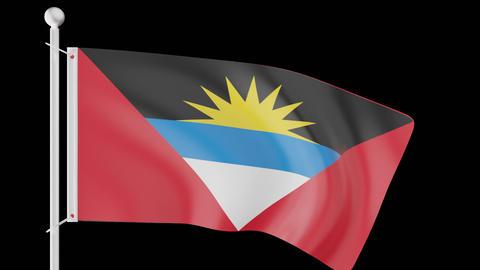 FLAG OF ANTIGUA BARBUDA WAVE W/ALPHA CHANNEL Animation