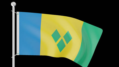 FLAG OF SAINT VINCENT AND THE GRENADINES WAVE W/ALPHA CHANNEL Animation