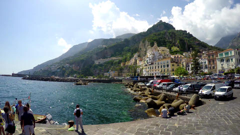 People in world famous Amalfi coast Live Action