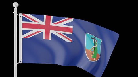 FLAG OF MONSERRAT WAVE W/ALPHA CHANNEL Animation