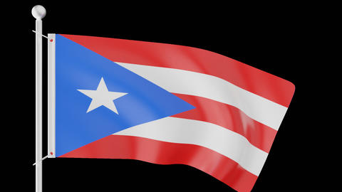 FLAG OF PUERTO RICO WAVE W/ALPHA CHANNEL Animation