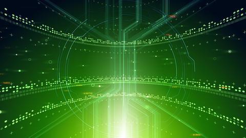 AI digital data network computer technology 3D illustration background 5 01 green Animation