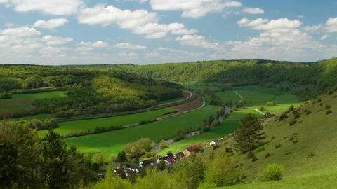 Panorama of the Altmuehltal in Germany Footage