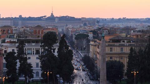 Via Ferdinando di Savoia at sunset. Time Lapse. Rome, Italy Footage