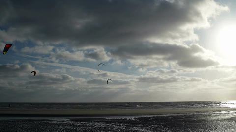 Kite Surfer on the Beach of St. Peter-Ording in Germany
