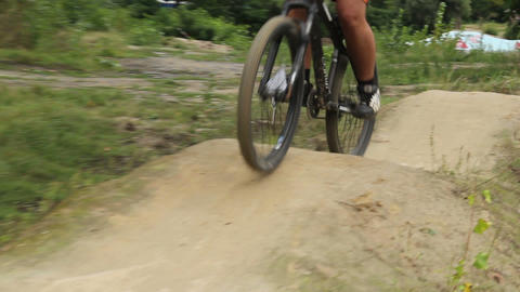 BMX bicycle unsuccessful attempt to ride the track, failed racer Footage