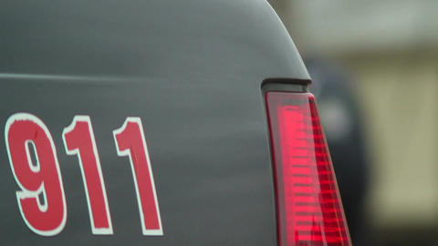 Police 911 car steel part, emergency phone on security vehicle Footage