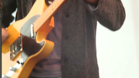 Riff guitar hard rock playing male musician, stage concert gig Footage