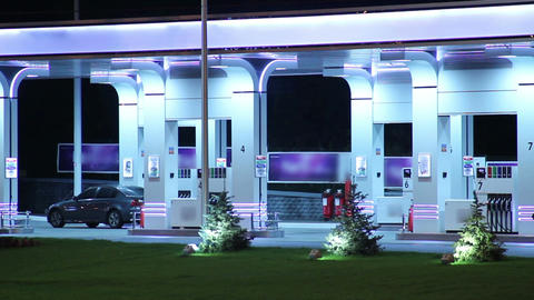 Gasoline station time lapse, fueling cars, petrol selling point Live Action