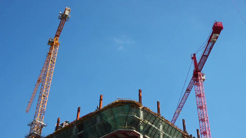Building construction site day timelapse cranes work build floor Footage