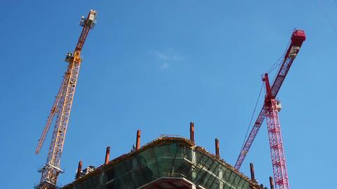 Building construction site day timelapse cranes work build floor Live Action