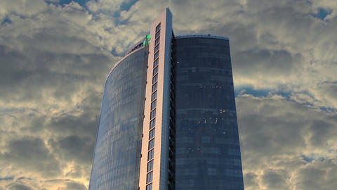 Business center single building timelapse, dense clouds weather Footage