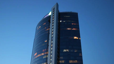 Business center day to evening time-lapse, lights, dusk Live Action