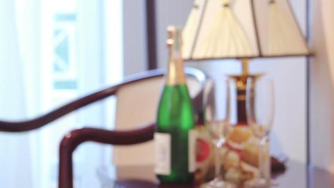 Wedding, holiday luxury background, champagne bottle, glasses Footage
