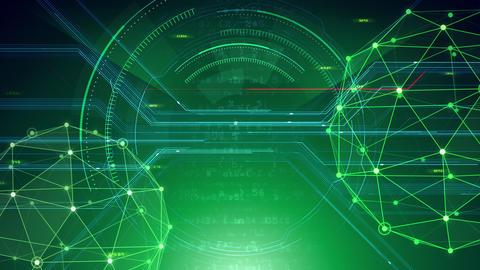 AI digital data network computer technology 3D illustration background 5 05 green Animation