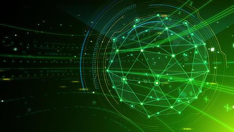 AI digital data network computer technology 3D illustration background 5 03 green CG動画